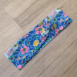 Tynka stylová čelenka L- květy na modré