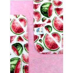 Breberky přebalovací podložka PUL - Melouny růžový velur