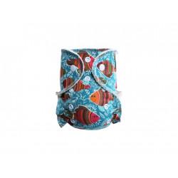Breberky  novorozenecká kalhotková plena na patentky - Rybky na modré