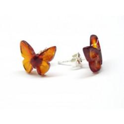 BM Jantarové náušnice - motýli z jantaru