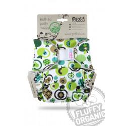 Petit Lulu kalhotková plena Fluffy Organic na suchý zip - Jablka zelená