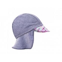 Unuo funkční čepice s kšiltem UV 50+ - Květinky šedá XS