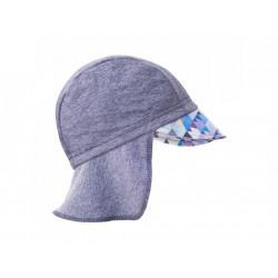 Unuo funkční čepice s kšiltem a plachetkou UV 50+ - Mini trojuhelníčky klučičí, šedá M