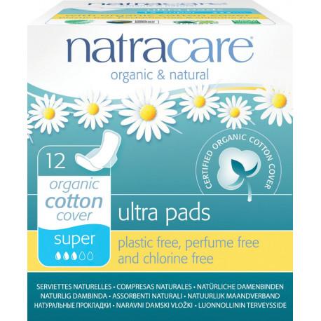 Natracare - menstruační vložky ultra super pads s křidélky 12 ks