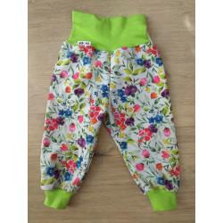 Tynka Softshellové kalhoty s flísem vel. 74 - 80 - Květy na bílé