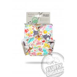 Petit Lulu novorozenecká plenka Fluffy Organic na patentky - Kočičí louka