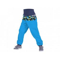Unuo Softshellové kalhoty s fleecem vel. 80/86 - Autíčka tyrkysové