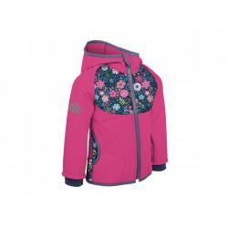 Unuo Softshellová bunda s fleecem vel. 116/122 - Fuchsiová květinky
