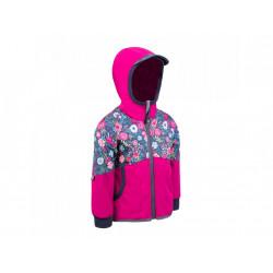 Unuo softshellová bunda s fleecem STREET - Fuchsiová květinky