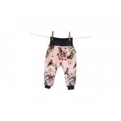 Breberky softshellové kalhoty vel. 68/74 - Ptačí svět růžový