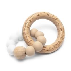 Mimijo silikonové kousátko - Duo bílá a béžová
