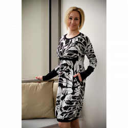 Made by Zuz Kojící a těhotenské šaty - black lily dlouhý rukáv S