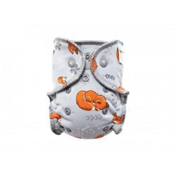 Breberky kalhotková plenka novorozenecká 2018 PAT - Lišky na šedé, šedý velur