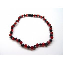 BM Jantarové korálky pro děti - rubínový jantar s červeným onyxem