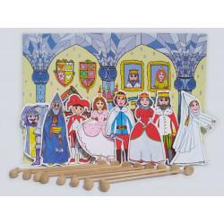 Marionetino Velká královská sada I+II - loutky, kulisy, pozadí, 8 tyček