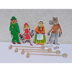 Marionetino Červená Karkulka - postavy, tyčky