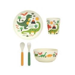 Petit Collage bambusová jídelní sada - Dinosauři
